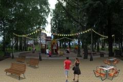 детская площадка с гирляндами